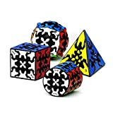 RainbowBox Gear Magic Cube Set, Gear Speed Cube Bundle of 3x3x3 Gear Cube Gear Pyraminx Cylindrical Gear Cube and Gear Ball Cube Puzzle Toys 4Pcs
