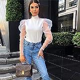 RVXZV Silcsqb Moda Mujer Sheer Mesh Blusas Vintage Cuello de