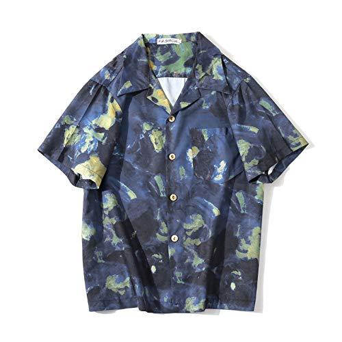 Camisa Holgada de Pareja con Estampado de Manga Corta para Hombre