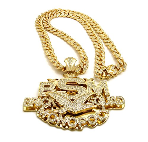 Crescendo SJ INC New Brick Squad Monopoly Pendant & 30' ICED Out Cuban Chain Necklace - RC2654G