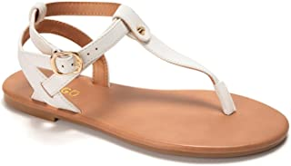 Thong Flat Sandals, Casual T Strap Dress Sandals, Adjustable Ankle Buckle Dress Thong Sandals with Strappy for Women Summe...