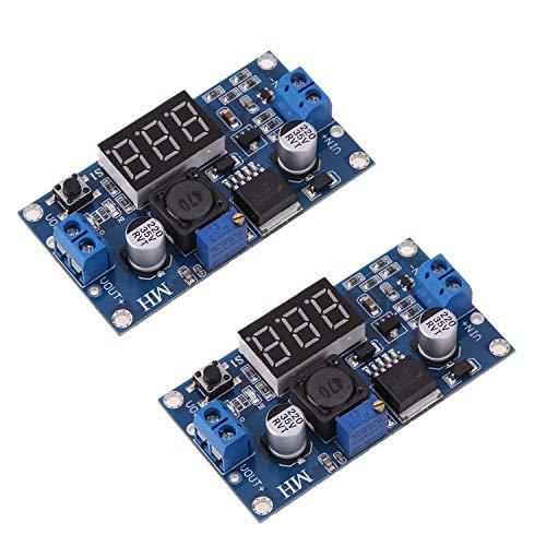 Convertidor Buck DC-DC Ajustable LM2596S Regulador de Voltaje reducido Módulo de alimentación con Botones 36V 24V 12V a 5V 2A Estabilizador de Voltaje con Pantalla de voltímetro Digital (2 Pie