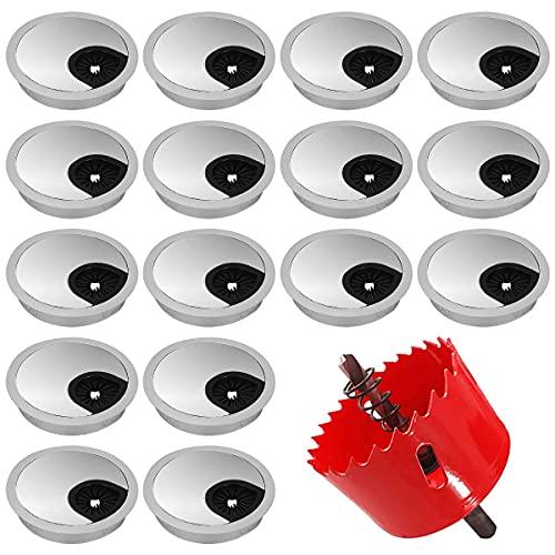 Pasacables Tapa de Ojales de Plástico, Regerly 20PCS Cubierta de Ojales Redonda de Escritorio de Ordenador Cubierta de Agujeros de Alambre 50 mm Con 1 Broca para el Hogar y la Oficina