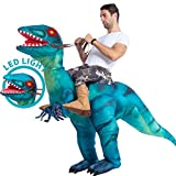 Spooktacular Creations Inflatable Raptor Riding a Raptor Dinosaur Deluxe Costume - Adult (Blue)