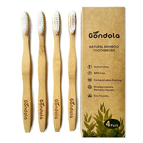 Gondola Bamboo Toothbrush, Vegan Organic Eco Friendly Toothbrushes, Soft Bristles (4 Count)