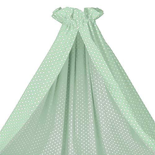 Sugarapple Himmel für Babybetten, Betthimmel Baby für Kinderbetten, mint mit weißen Punkten, 100% Öko-Tex Baumwolle, 200x150 (BxH) cm