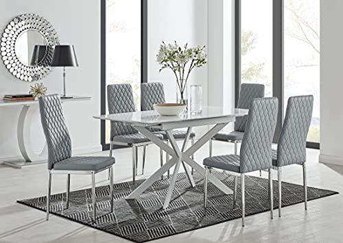 Furniturebox UK Lira White Gloss Extendable Table. 120cm - 160cm Modern Space Saving Dining Table With Starburst White Legs with 6 Grey Faux Leather Milan Silver Leg Dining Chairs