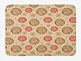 Alfombra de baño de color rojo y marrón, círculos de estilo vintage con decoración de hojas y estrellas artísticas, alfombra de decoración de baño de felpa con parte posterior antideslizante, escarlat