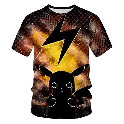 ZSWDBDysq 3D Short Sleeve, Movie Detective Pikachu 3D Print Plus Size Loose Street Youth T-Shirt