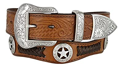 Mens Western Ranger Star Badge Concho Braided Genuine Leather Cowboy Belt (38, Brown)