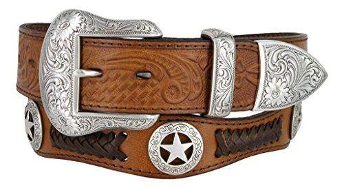 Mens Western Ranger Star Badge Concho Braided Genuine Leather Cowboy Belt (32, Brown)