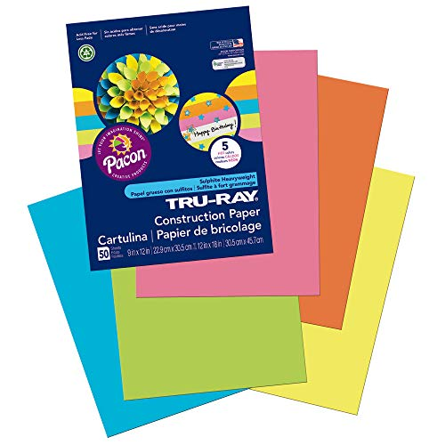 "Tru-Ray Heavyweight Construction Paper, Hot Assorted Colors, 9"" x 12"", 50 Sheets Photo #8"