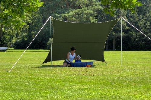 Sonnensegel-Set: 3 x 3 m, grün, viereckig, Inkl. Aufbauzubehör
