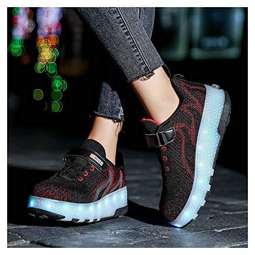 7 Colors LED Roller Chaussures de Skateboard USB Rechargeable Clignotante Chaussures à roulettes Sneaker avec Roues Multisports Gymnastique Mode pour Garçons et Filles EnfantsBlack-30