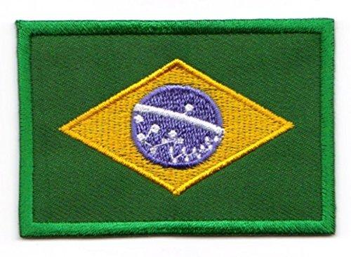 Aufnäher Bügelbild Aufbügler Iron on Patches Applikation Flagge Brasilien 3 x 2cm