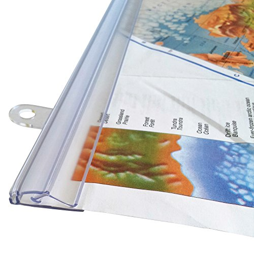 """goKelvin 36"""" Hanging Rails for Posters, Signs, and Maps (Clear)"""