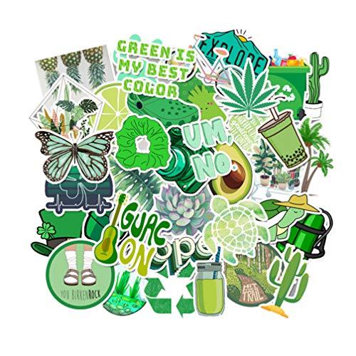 Healifty grüne aufkleber für wasserflaschen wasserdichte vinyl aufkleber für laptop gepäck skateboard motorrad fahrrad aufkleber graffiti patches100pcs
