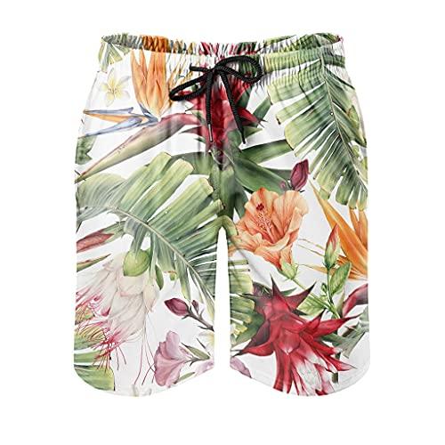 Bañador para hombre, diseño tropical de hojas de plátano, con estampado moderno 3D y forro de malla, para playa, con cordón ajustable, bolsillos laterales, color blanco, M