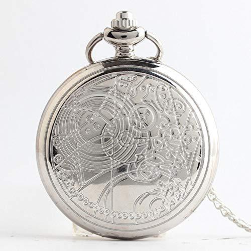 FMXKSW Reloj de Bolsillo Negro Liso Retro para Hombre, Reloj de Bolsillo con Cuarzo Pulido Plateado, Colgante con Cadena, Plata DW