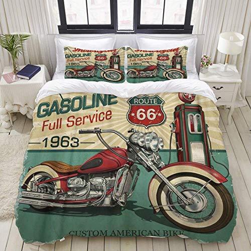 Yaoni Funda nórdica, Retro Vintage Gasolina Ruta 66 Motocicletas clásicas Biker Moto, Juego de Ropa de Cama Juegos de Microfibra Ultra cómodos y Ligeros