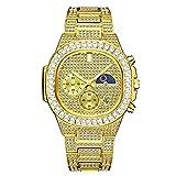 Fantex 18K 44mm Reloj con brazalete con calendario cuadrado helado, esfera de diamante de laboratorio CZ brillante con fase lunar para hombres y mujeres (Gold)