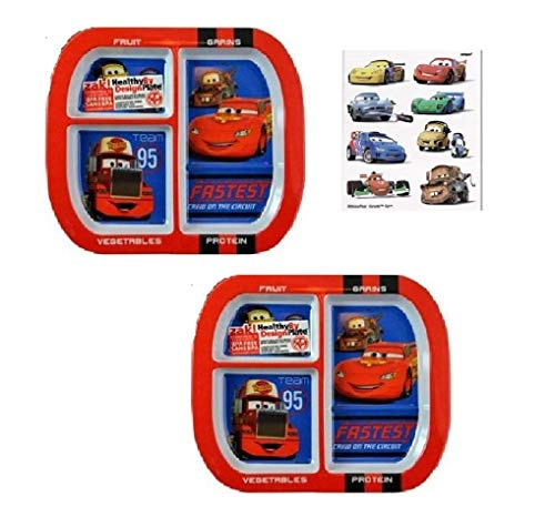 Zak Designs Cars 3-Section Melamine Plates Featuring Lightning McQueen, Mater, Rust-eze, BPA FREE - 2 Plates and 8 Tattoos