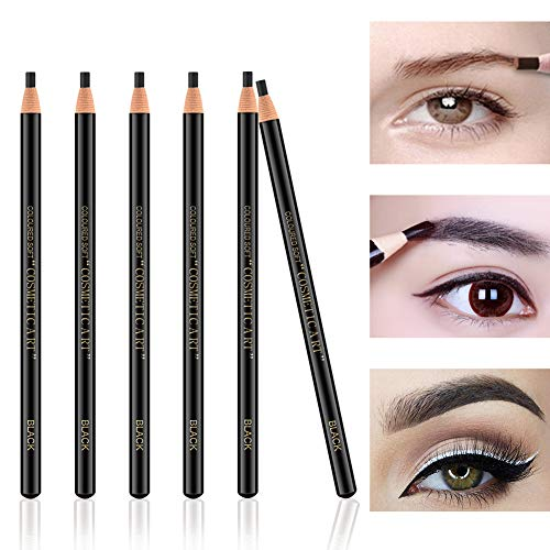 Ownest 6Pcs Pull Cord Peel-off Eyebrow Pencil Tattoo Makeup and Microblading Supplies Set for Marking, Filling and Outlining, Waterproof and Durable Permanent Eyebrow Liner-Black