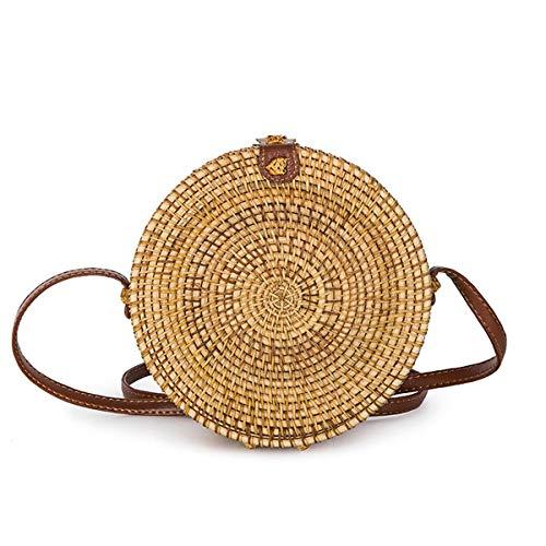 louzheni Rattan Umhängetasche Handgewebte runde Handtasche Damen Strohbeutel Runde Handtasche Kreis Handgewebte Strand Taschen