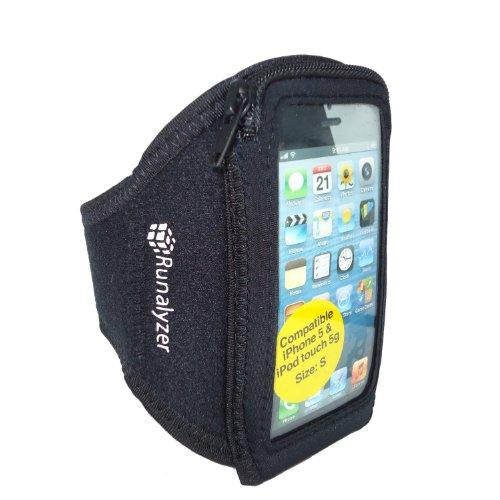 Runalyzer 593103 - Brazalete de silicona para iPhone5/iPod Touch 5 (talla S), color negro