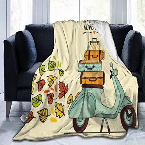 COFEIYISI Kuscheldecke Fleecedecke Flanell Decke Laggage Retro Vintage Roller Gepäck Vespa Fahrt Italien Italien Cool Bike Design Blanket Für Bett Sofa Schlafzimmer Büro 100x127cm