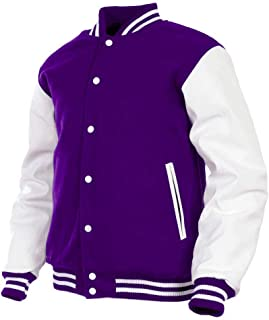 Varsity Jacket Men's Real Leather Arms Wool Blend Body Baseball Letterman Casual Wear Jacket