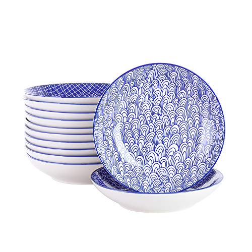 vancasso, Takaki 12 teilig Porzellan Suppenteller, Rund Tiefteller Set, Ø 21,5 cm, 700ML Blau