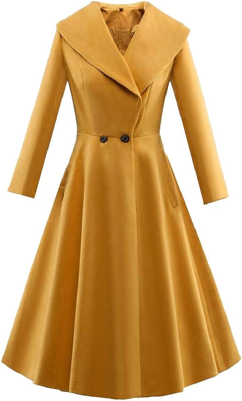 TDCACA Women Winter Hepburn 2 Buttons Lapel Wool Blend Trench Coat Outwear