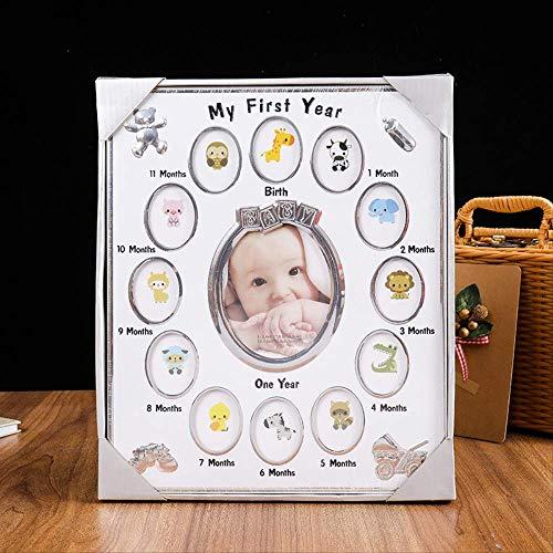 jhunkjnj Fotorahmen Mehrere Fotos Mein Erstes Jahr DIY Baby Wachstum Fotorahmen 12 Monate Bilderanzeige Andenkenrahmen 30x25cm Weiß