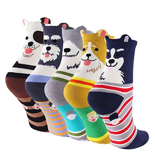 Damen Witzig Socken aus Baumwolle Niedlich Karikatur Tiere Charakter Socken, Mädchen Verrückte Thermo Bunt Muster Socken,Gestreifter Hund - 5 Paare, EU 35-41