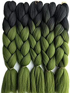 24inch Black to Midnight Blue Two Tone Ombre Color Synthetic Braiding Hair Extensions Jumbo Braids Hair Bulk 5packs/lot for Crochet Hair (black olive green)