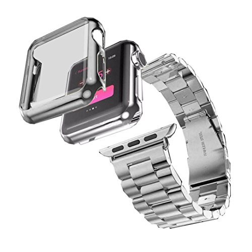 Creazy Stainless Steel Bracelet Strap Band + Case For Apple Watch Series 2 42mm (Silver)