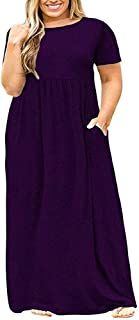 Women's Short Sleeve Dress Casual Loose Maxi Printing Large Size Long Dresses Simple (Color : Purple, Size : 4XL)