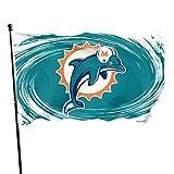 Xlcsomf Miami Dolphins Flagge, strapazierfähig, 152 x 91 cm, Fußballmannschaft-Logo, schnell trocknend