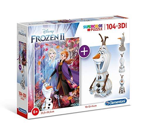Clementoni- Puzzle 104 Piezas +Modelo 3D Frozen 2 (20170.9)