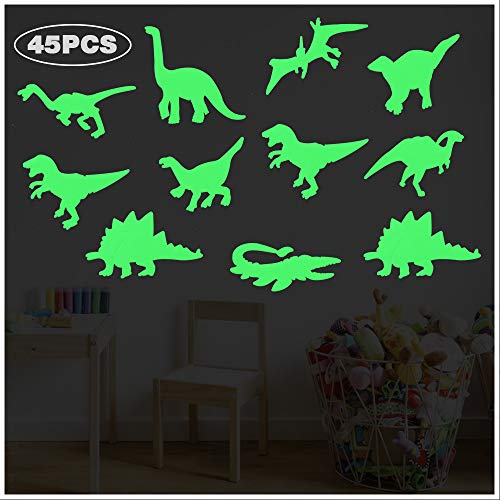 45 PCS Luminous Dinosaur Wall Stickers, Dinosaur Decor for Boys,Glow in The Dark Wall Decals,Dinosaur Decorations for Boys Room