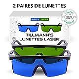Lunettes Laser Tillmann's- Deux paires de Lunettes de Protection contre la Lumière Pulsée. Avec un petit sac-étui. A...