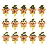Yardwe - Juego de 50 adornos para tartas de Halloween con forma de estrella divertida con patrón de sombrero de bruja para magdalenas y fiestas