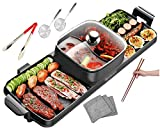 Soup N Grill V2 Hotpot Grill Combo, Indoor Korean BBQ, Shabu Shabu Electric Hot Pot with Divider, Portable with Free Strainer Scoops, Extra Long Chopsticks, Tongs, Cloths, Smokeless Grill