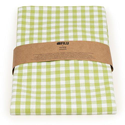 FILU Tischläufer 40 x 150 cm Hellgrün/Weiß kariert (Farbe und Größe wählbar) - hochwertig gefertigter Tischläufer aus 100% Baumwolle im skandinavischen Landhaus-Stil