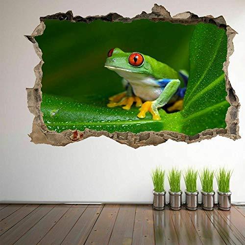 Pegatinas de pared Rana arborícola de ojos rojos, pegatinas artísticas de pared de animales del Amazonas, calcomanía Mural, decoración del hogar, papel tapiz de póster FA8- 70×100cm