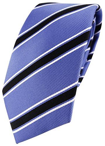 TigerTie XXL diseñador corbata de seda - azul negro blanco rayas - demasiado grande 170 x 7 cm