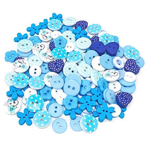 Lot de 150 boutons assortis en bois, acrylique et résine pour fabrication de carte Bleu