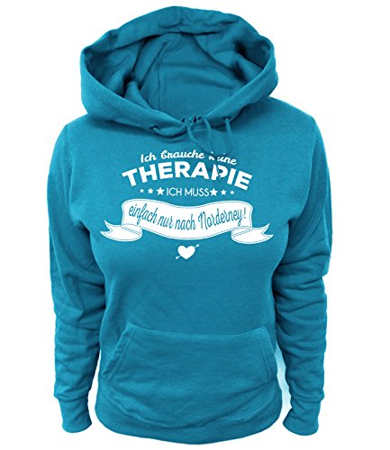 Artdiktat Damen Hoodie - Ich Brauche Keine Therapie - Ich muss einfach nur nach Norderney Größe XXL, blau