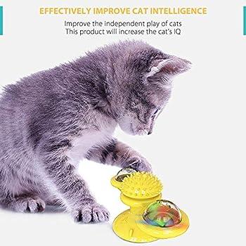 TOPofly Moulin à Vent Jouet pour Chat avec LED Boule Ventouse Kitten Portable Turntable Interaction Toy avec Scratch Brosse à Cheveux pour Massage et Scratching Tickle (Bleu)